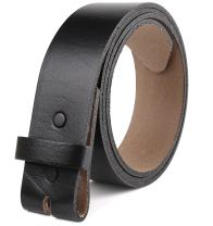 Belt for buckle men Snap on Strap top Grain One Piece Leather no buckle, Made in USA,