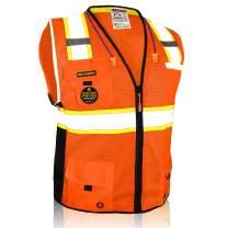 KwikSafety (Charlotte, NC) BIG KAHUNA | 11 Pockets Class 2 ANSI High Visibility Reflective Safety Vest Heavy Duty Mesh with Zipper and HiVis for OSHA Construction Work HiViz Men | Orange Small