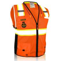 KwikSafety (Charlotte, NC) BIG KAHUNA | 11 Pockets Class 2 ANSI High Visibility Reflective Safety Vest Heavy Duty Mesh with Zipper and HiVis for OSHA Construction Work HiViz Men | Orange Small