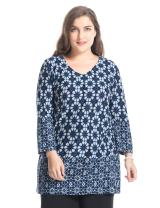 Chicwe Women's Plus Size Floral Printed Cashmere Touch V Neck Casual Top