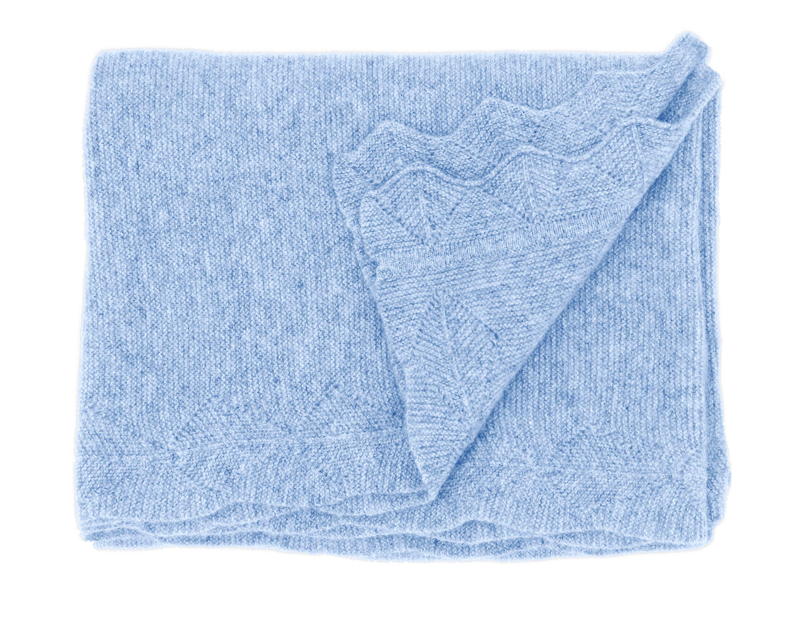 State Cashmere Luxe Stroller Baby Blanket 100% Pure Cashmere Travel Wrap Lightweight and Warm • 40 x 30 inches (Baby Blue)