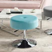Art Leon Vanity Stool Large, Modern Velvet Upholstered Makeup Vanity Stool, Adjustable Height Swivel Stool with Metal Base Round Ottoman for Bathroom Bedroom Desk (Light Green)