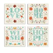 WEXFORD HOME Flower Spring Collection Canvas Print 4 Panels Set Décor for Home Office Wall Art, 32X32, Garden Sketch Hope/Frameless