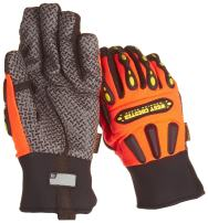 West Chester 86710 Leather Rugged Rigger Gloves – [Pack of 12] Orange, Small Synthetic Palm Gloves with Silicone Grip, Kevlar Thread