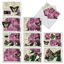 10 'Papillon Post' Thank You Cards with Envelopes 4 x 5.12 inch, Assorted French Butterfly Greeting Cards, All Occasion Stationery Set for Weddings, Baby Showers, Mother's Day, and More M2981
