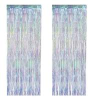 Beistle 53528 Iridescent Fringe Curtains 2 Piece Wedding Decorations Anniversary Party Supplies Doorway Entrance Drape, 8' x 3', Opalesecent