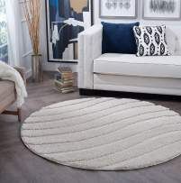 Tayse Waveland Cream 4 Foot Round Area Rug for Dorm, Kids, Baby, or Nursery Room - Shag, Stripe