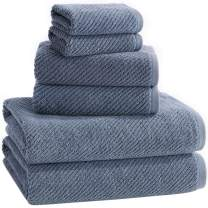 ALFRED SUNG HOME 100% Cotton Quick Dry Textured Bath Towel Set, 6 Piece Set, Includes 2 Bath Towels, 2 Hand Towels and 2 Washcloths, Highly Absorbent, Fast Drying, Luxury Bathroom Towels (Blue)