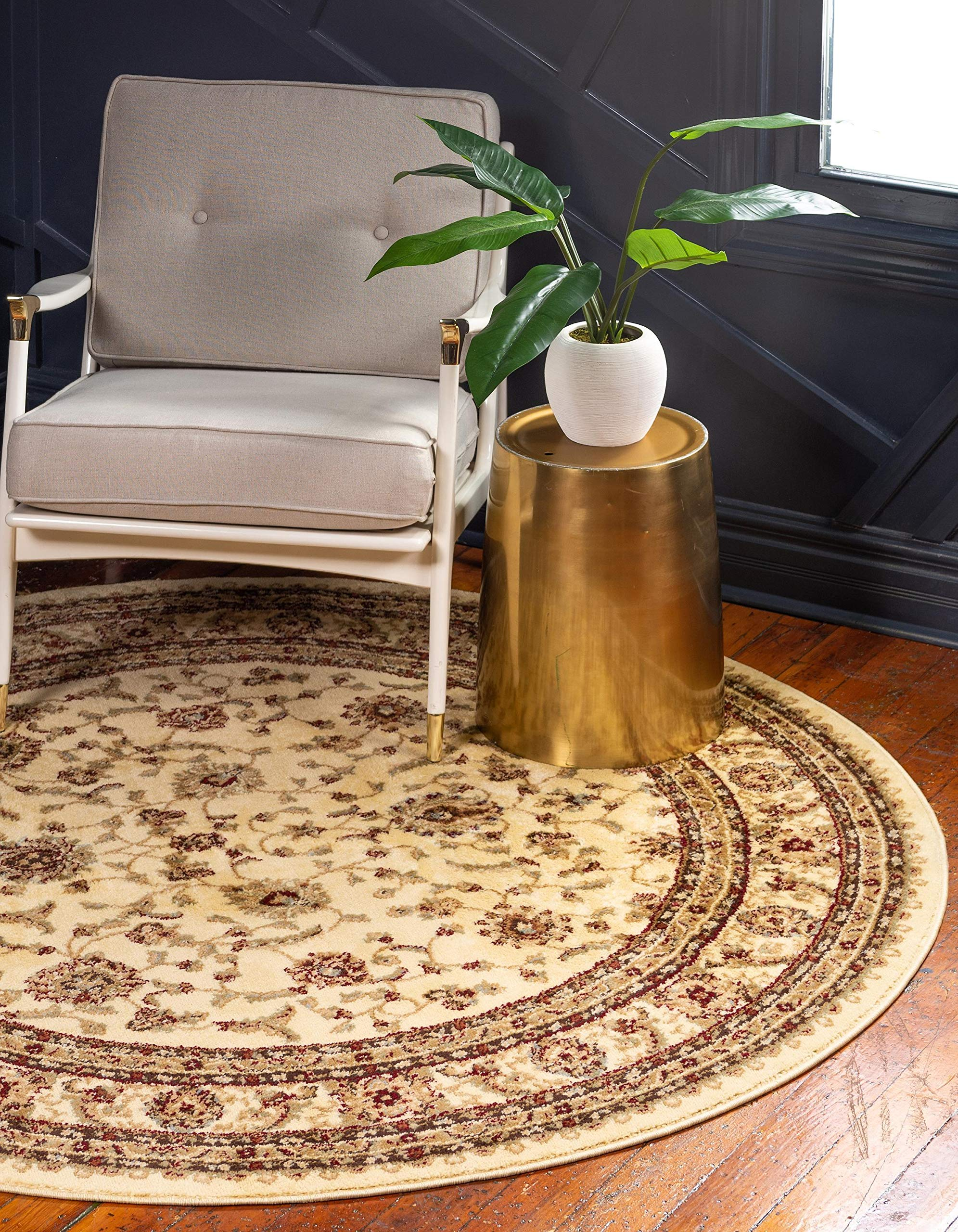 Unique Loom Voyage Collection Traditional Oriental Classic Cream Round Rug (6' 0 x 6' 0)