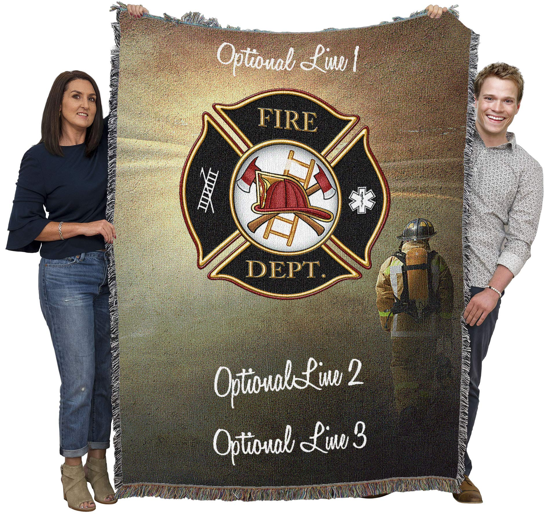 Pure Country Weavers Personalized Fire Fighter Shield Woven Blanket Large Soft Comforting Cotton Throw Made in The USA 72x54