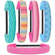 FROG SAC 5 PCS Chevron Non Slip Headbands For Girls, Adjustable No Slip Headband Hair Accessories For Kids, Grosgrain Head Band Party Favors