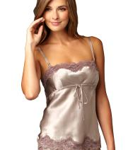 Julianna Rae Women's 100% Silk Camisole Top, Lace Trim, Sweet Indulgence, Lingerie, Sleepwear, Beautiful Gift Packaging