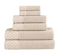 Classic Turkish Towels Luxury 6 Piece Cotton Bath Towel Set - Jacquard Woven Soft Textured Almond Towels Made with 100% Turkish Cotton