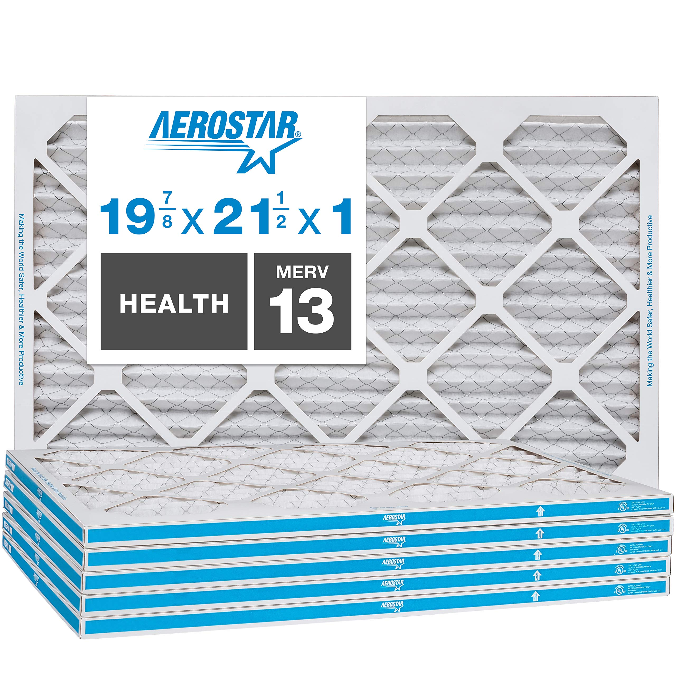 """Aerostar Home Max 19 7/8 x 21 1/2x1 MERV 13 Pleated Air Filter, Made in the USA, Captures Virus Particles, (Actual Size: 19 7/8""""x21 1/2""""x3/4""""), 6-Pack"""