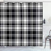 """Lunarable Plaid Shower Curtain, Monochrome Style Vintage English Stripes and Checks Pattern Abstract Grunge Look, Cloth Fabric Bathroom Decor Set with Hooks, 75"""" Long, Black and White"""