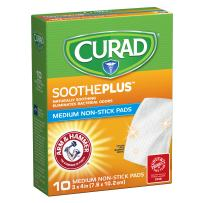 "CURAD SoothePLUS Non-Stick Pads with ARM & HAMMER Baking Soda, 3"" x 4"", 10 count"