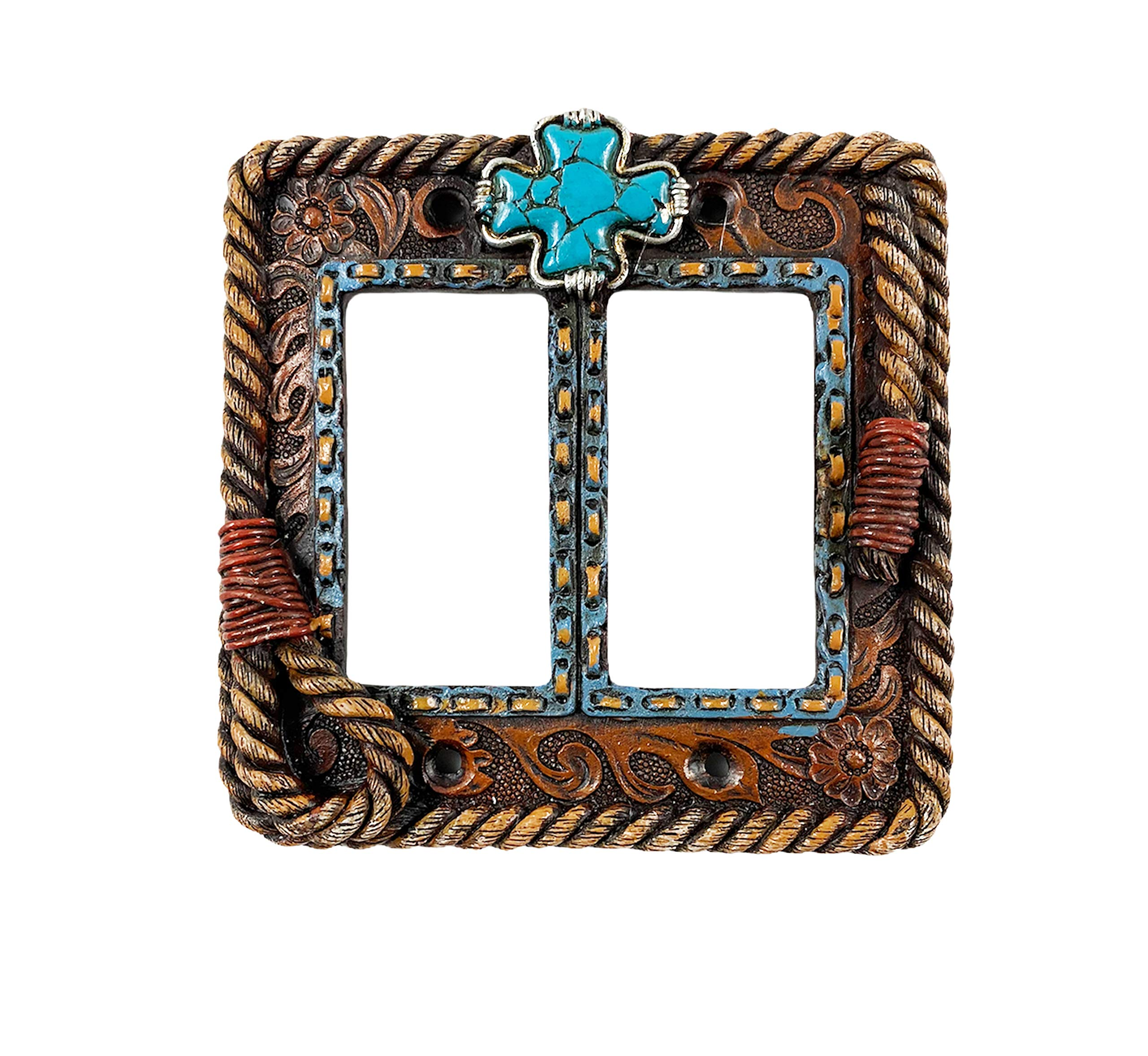 Urbalabs Western Braided Rope and Teal Cross Cowboy Decorative Light Switch Outlet Wall Plate Covers Country Home Rustic Light Switch Covers Single Double 2 Gang Switch Plates (Double Gang Rocker)