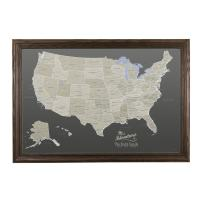 Push Pin Travel Maps Canvas - Personalized Earth Toned USA with Solid Wood Brown Frame
