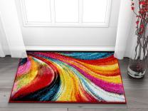 Well Woven Aurora Multi Color Geometric Brush Stroke Area Rug 2x3 (2' x 3' Mat) Modern Abstract Contemporary Painting Art Swirl Stripe Lines Thick Soft Plush Living Dining Room Nursery