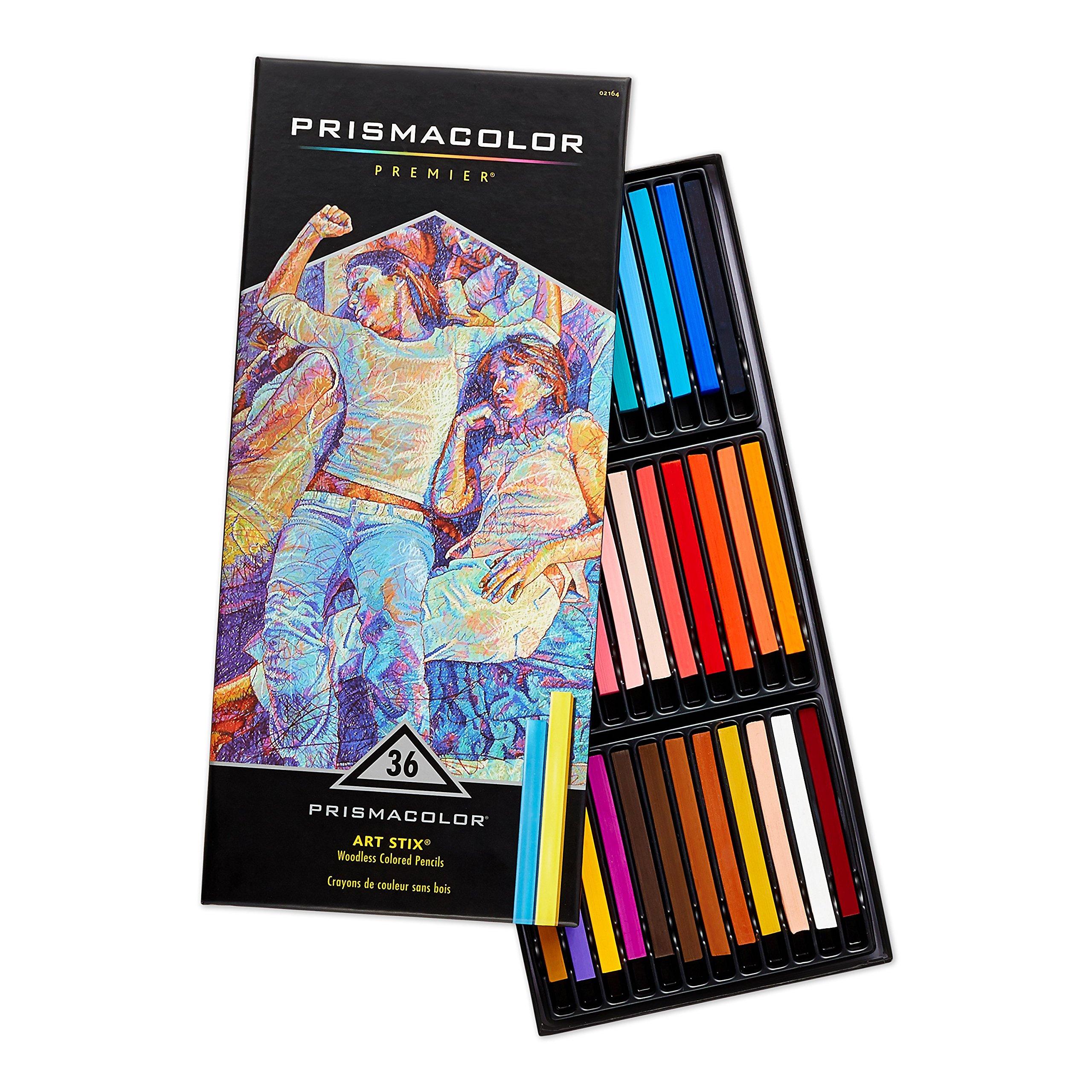 Prismacolor Premier Art Stix Woodless Colored Pencils, 36-Count (2164)