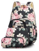 Leaper Floral School Backpack for Girls Daypack Insulated Lunch Bag Purse Black