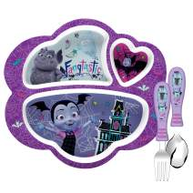 Zak Designs Vampirina Kids Dinnerware Set Includes Melamine 3-Section Divided Plate and Utensil Tableware, Made of Durable Material and Perfect for Kids (Vampirina, 3 Piece Set, BPA-Free)