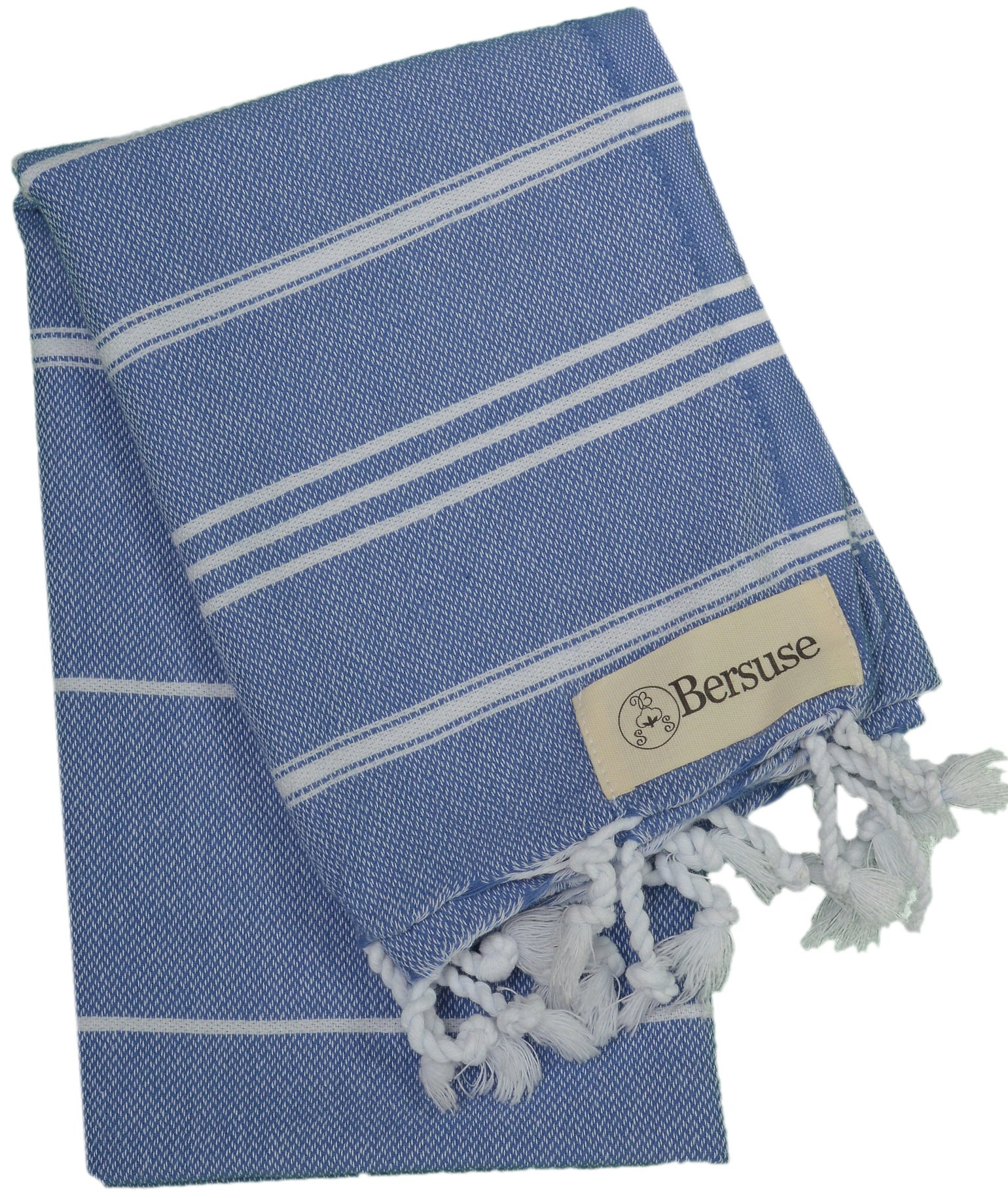 Bersuse 100% Cotton - Anatolia Hand Turkish Towel Pestemal - Baby Care Kitchen Tea Dish Washcloth - Travel Gym Head Hair Face Peshtemal - Classic Striped - 22X35 Inches, Grey Blue