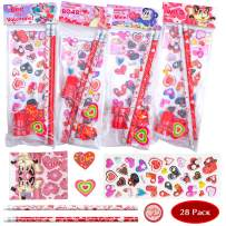 JOYIN 28 Pack Assorted Valentines Day Stationery Kids Gift Set Valentine Classroom Exchange Party Favor Toy