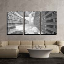 """wall26 - 3 Piece Canvas Wall Art - City Skyscrapers, Fisheye Upward Street View - Modern Home Decor Stretched and Framed Ready to Hang - 16""""x24""""x3 Panels"""