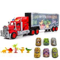 Toysery Transport Truck Carrier Toy | Large Mobile Garage Truck Toy for Boys and Girls | Includes Small Cars and Dinosaurs | Non-Battery Operated | Ideal Toy Gift for Kids