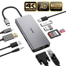 Updated USB C Hub, YEMO 11 in 1 Type C Adapter Dock with Giga Ethernet, 4K USBC to HDMI, VGA, 2 USB3.0 2 USB2.0 PD, SD TF Card Reader, Audio/Mic, for MacBook Pro and Other Type C Laptops