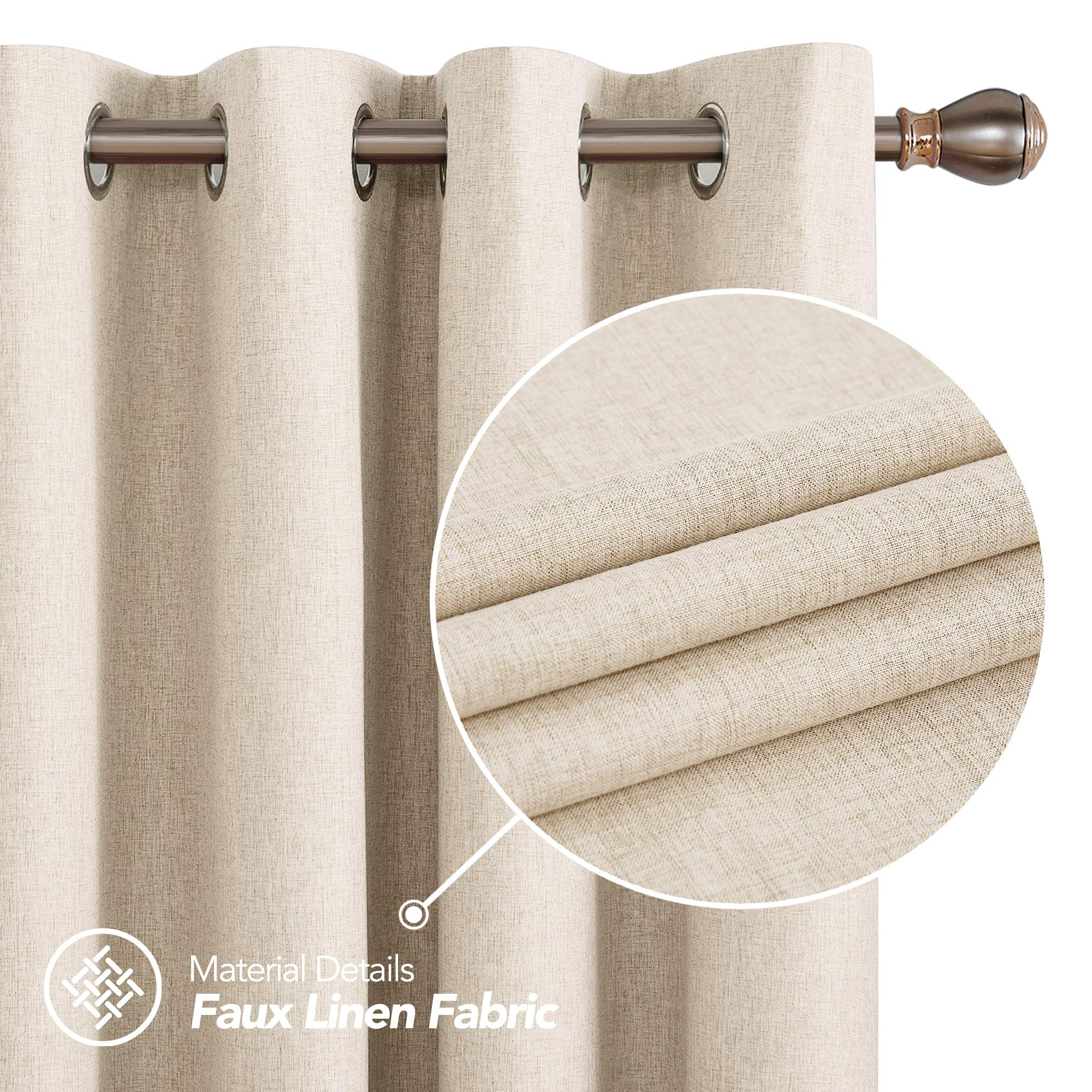 Deconovo Faux Linen Full Blackout Curtains with Coating Sound Reduction Energy Saving Curtains for Living Room Flaxen 52W x 84L Inch 2 Panels