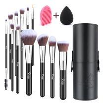 Qivange Makeup Brushes with Case, Makeup Brush Set 12PCS Foundation Powder Concealers eyeshadow Face Blush Brushes with Blender Sponge Sponge, Brush Cleaner(12 pcs, Black with Sliver)