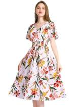 Gardenwed Floral Chiffon Dresses for Women Flowy Homecoming Cocktail Dress Summer Beach Sun Dress