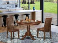 3 Piece Hartland Set With One Round 42in Dinette Table And Two Dinette Chairs With Wood Seat In A warm Mahogany Finish.
