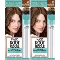 L'Oreal Paris Hair Color Root rescue 10 minute root hair coloring kit, permanent hair color with quick precision applicator, 100% gray coverage, 5G Medium Golden Brown, 2 Count