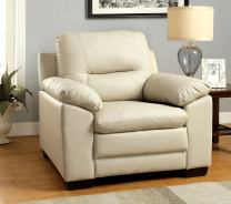 Furniture of America Stewart Leatherette Chair, Ivory