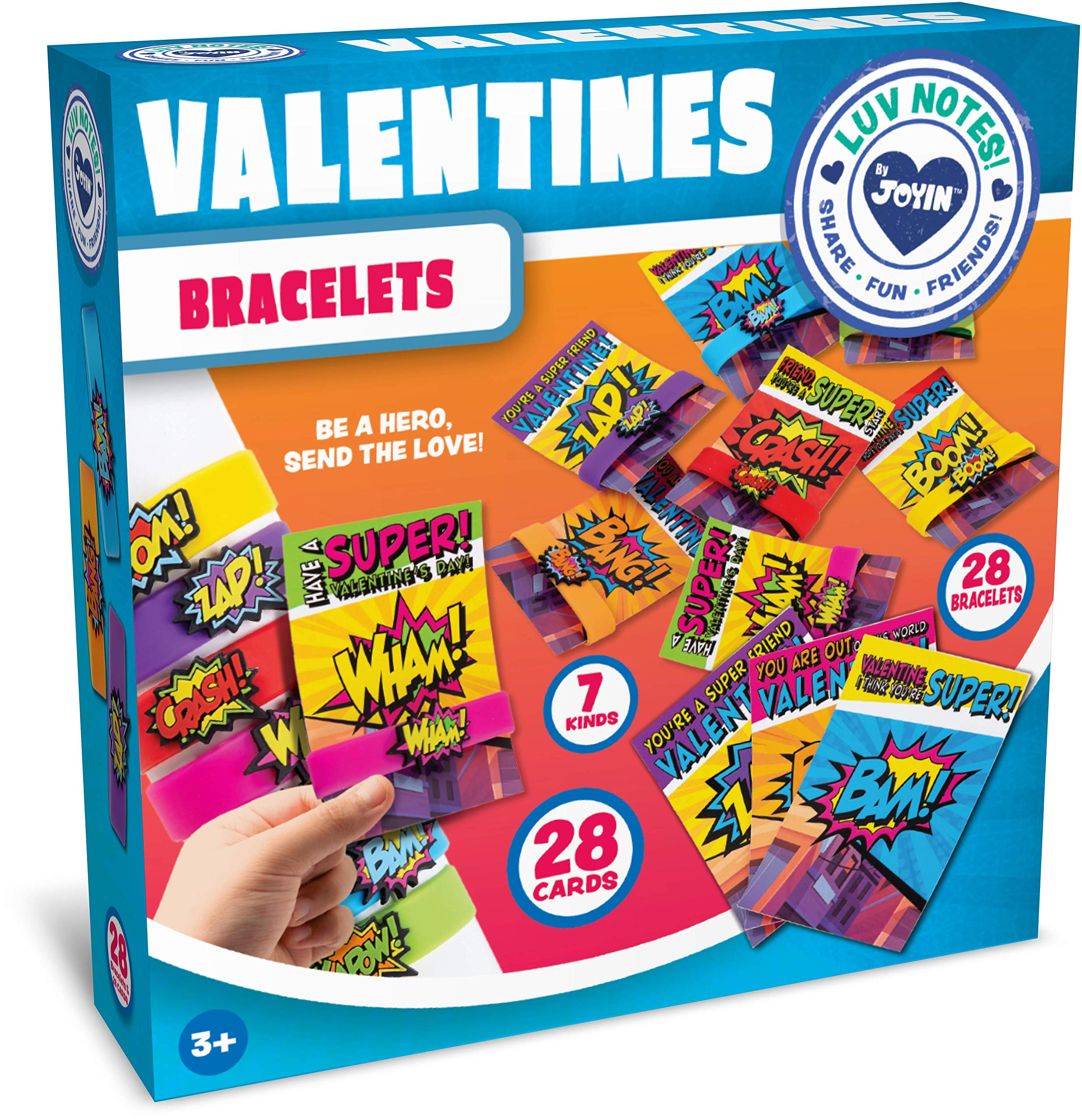 JOYIN 28 Pack Valentines Day Gift Cards With Gift Superhero Quote & Saying Rubber Slap Bracelets for Kids, Valentine's Classroom Exchange Prizes Valentine Party Favor Toys