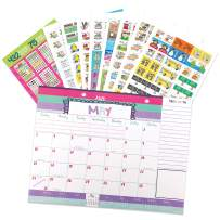 Reminder Binder 18-Month 2020-2021 Monthly Desk Calendar + Event Stickers Variety Set (Total of 432 Stickers) with Tear-Off Lists, Scheduling Tools, Bill Pay Worksheet and More (Bundle of 2 Items)