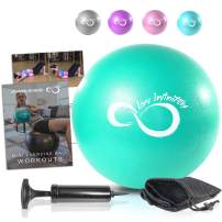 Live Infinitely 9 Inch Barre Pilates Ball & Hand Pump– Anti Burst Mini Ball & Digital Workout eBook Included for Yoga, Exercise, Balance & Stability Training – Comes with Mesh Carrying Bag