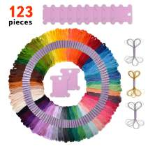 Premium 123 Piece Friendship Bracelet String and Bobbins Kit – Embroidery Floss, Deluxe Silver and Gold Threads, Quality Plastic Bobbins and DMC Color Card Included – Great Craft Gift Idea