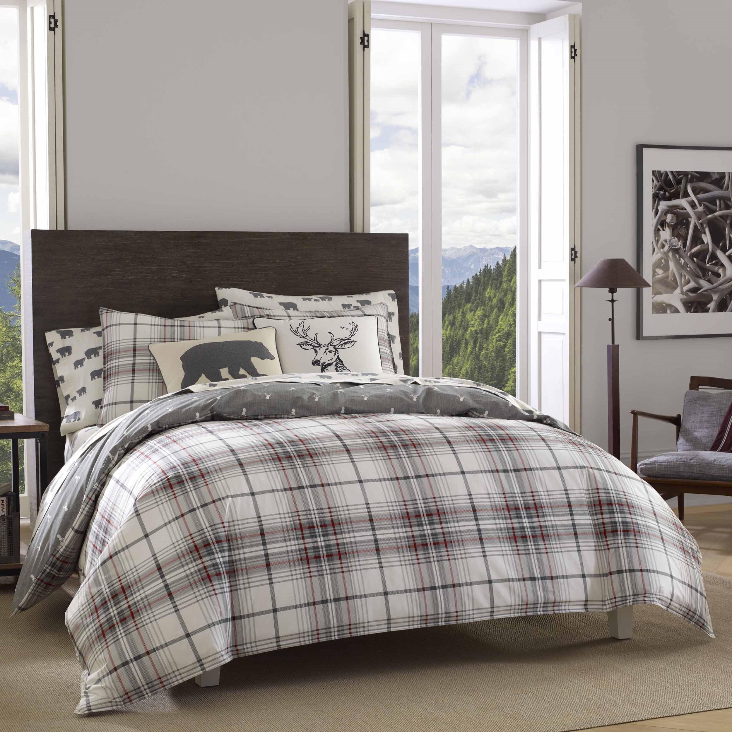 Eddie Bauer Alder Plaid Comforter Set, Full/Queen, Charcoal