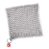 """CM SCRUBBER Knapp Made 6"""" Small Ring Chainmail Scrubber - for Cast Iron, Stainless Steel, Hard Anodized Cookware - Cast Iron Cleaner - 6"""" x 6"""""""