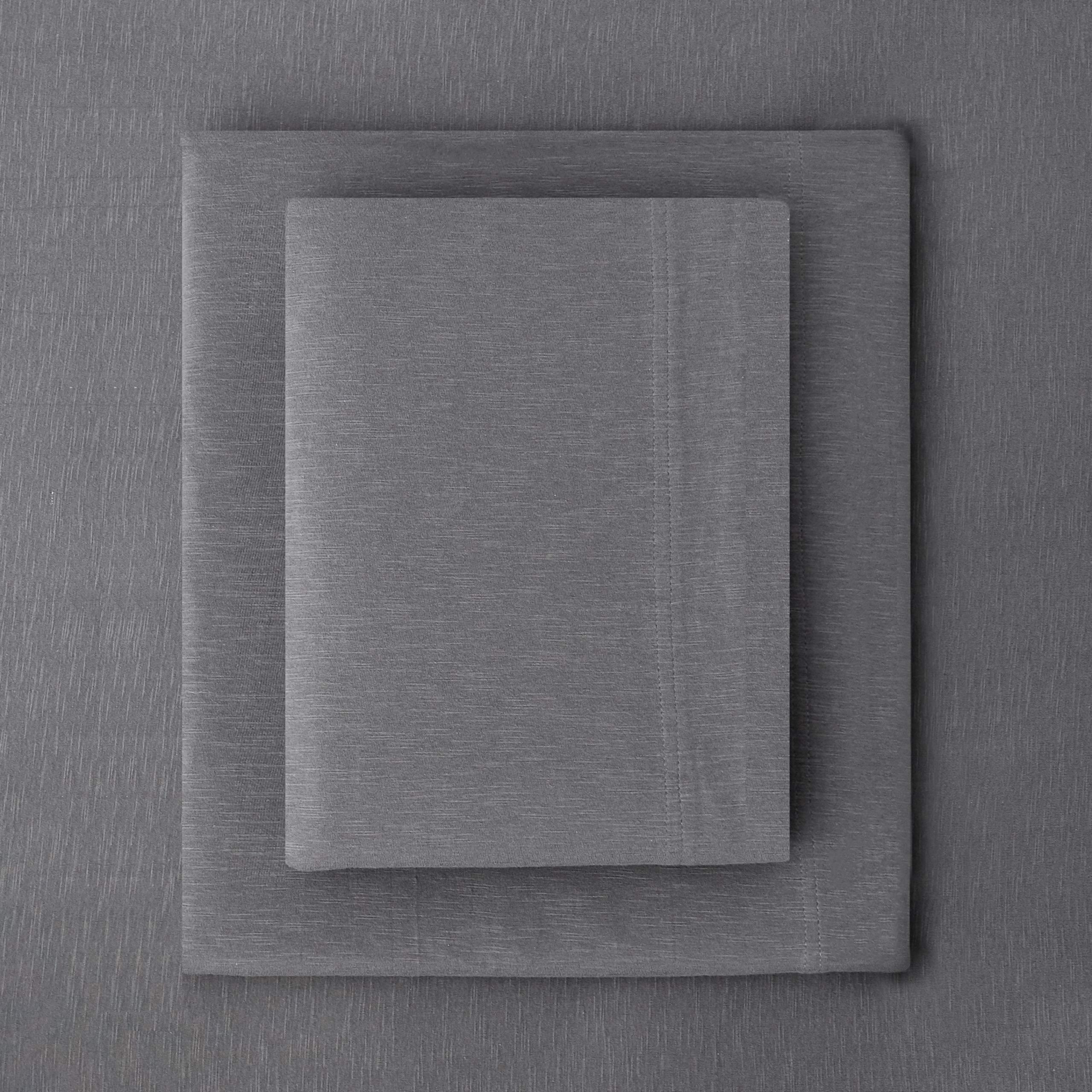 Splendid Home Slub Jersey Solid Sheet Set, King, Charcoal