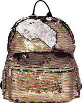 BG-709-MS-MP41 Medium Magic Sequin Backpack - Pastel Rainbow/Silver