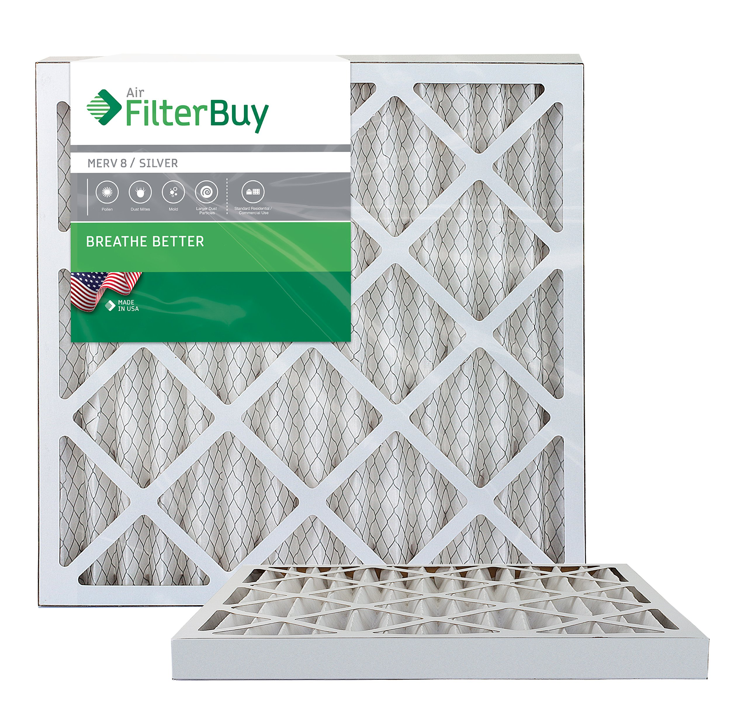 FilterBuy 25x25x2 MERV 8 Pleated AC Furnace Air Filter, (Pack of 2 Filters), 25x25x2 – Silver