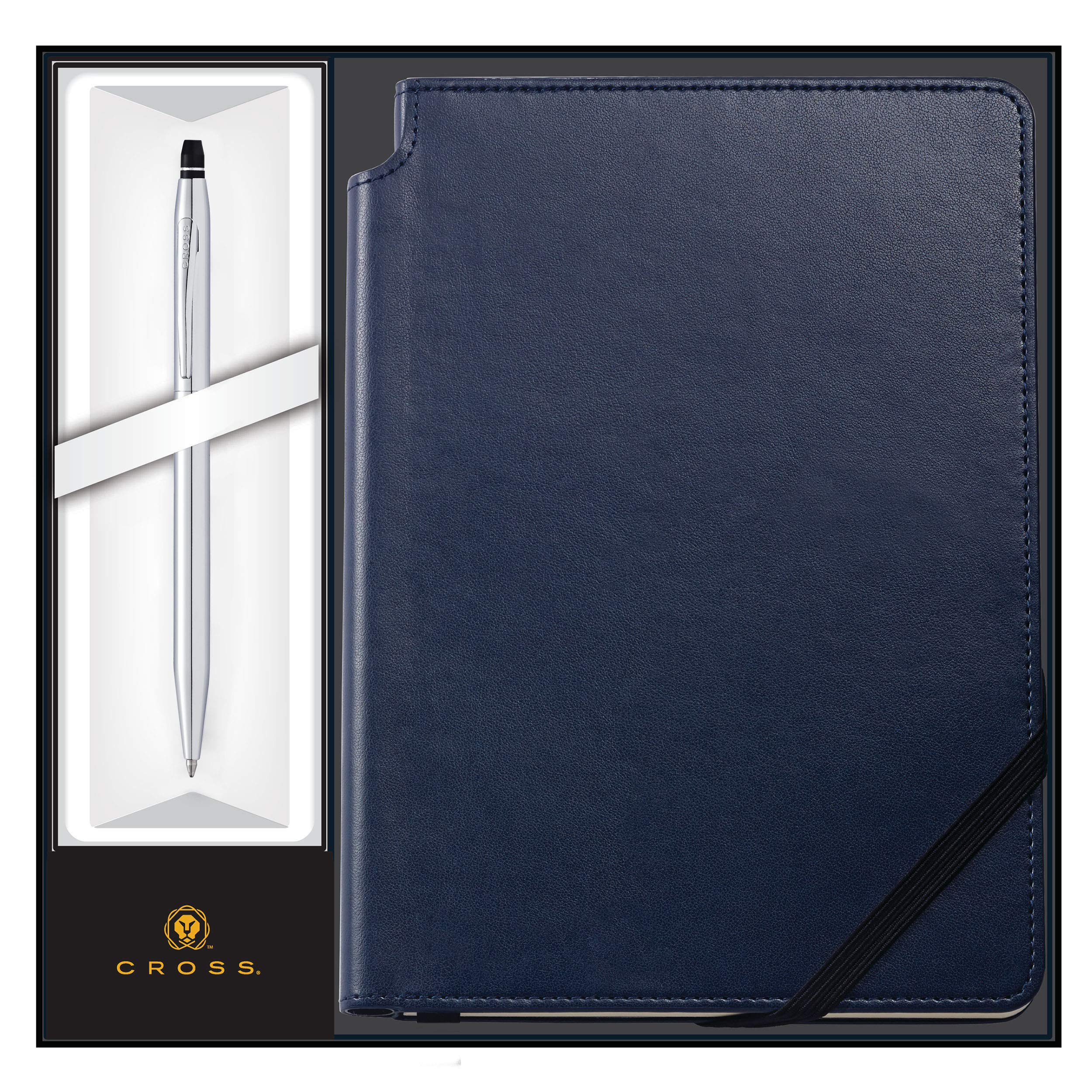 Cross Journal Set | AT Cross Personalized Pen and Journal Gift Set - Cross Click Chrome Ballpoint with a Midnight Blue Journal - Engraved. Comes in gift box.