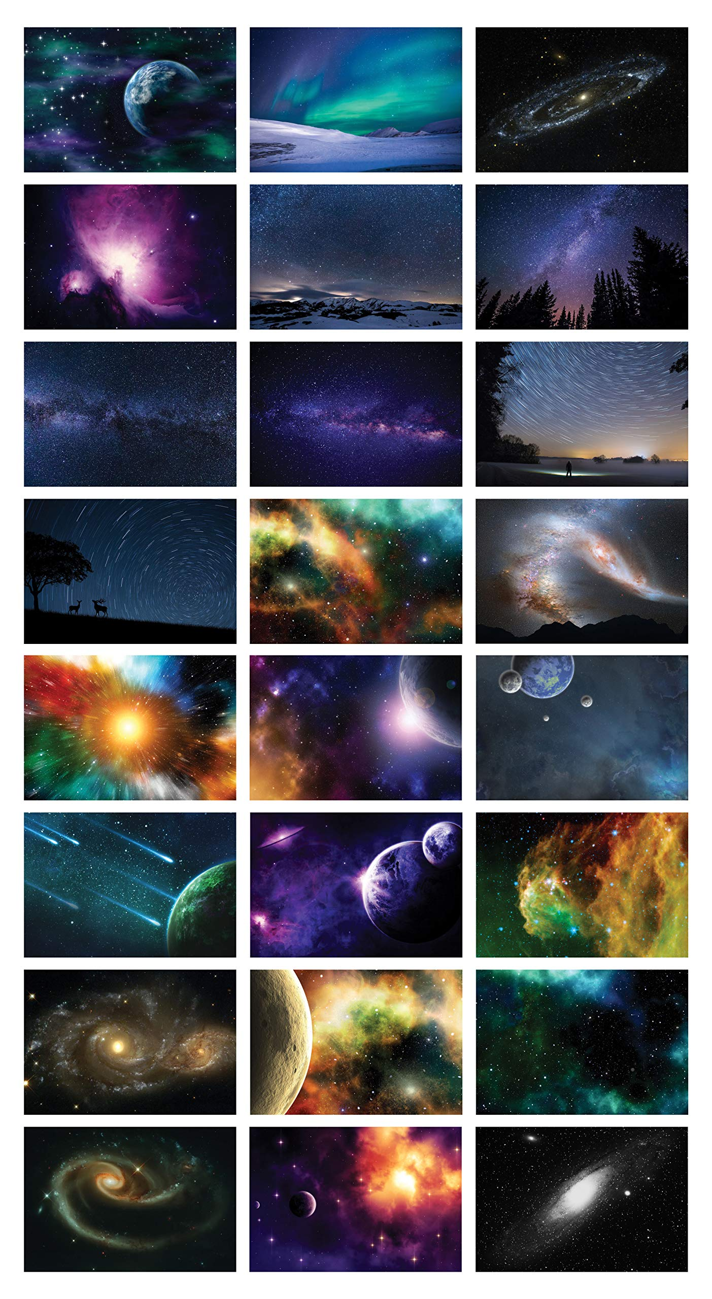 Assorted Galaxy Postcards (48-Pack) -Assorted Card Stock Bulk Set – Premium Quality Cards – Stocking Stuffers Gift for Men, Women, Teens, Adults