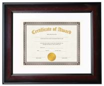Victory Light Executive Wide-Profile Document Frame with Mats, 11 x 14, Burgundy/Black
