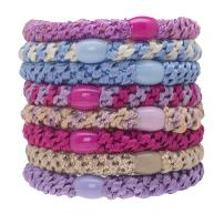 L. Erickson Grab & Go Ponytail Holders, Prim Pastel, Set of Eight - Exceptionally Secure with Gentle Hold